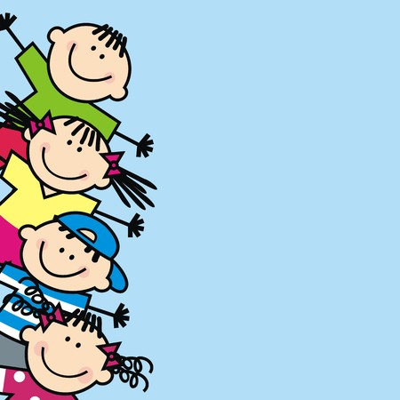 Happy kids, banner, vector icon Illustration