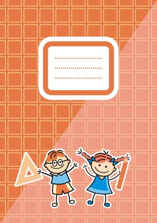 Orange workbook with name tag, vector icon