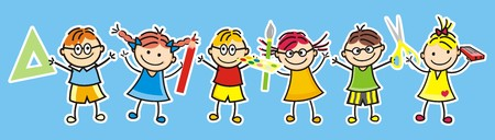 Happy kids and school supplies. Group of girls and boys. Vector icon. Vektorové ilustrace
