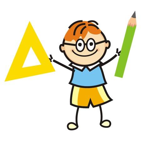 žák: Chlapec a kreslení zásob, vektorové ikony. Chlapec a pravítko a tužka. Legrační ilustrace.