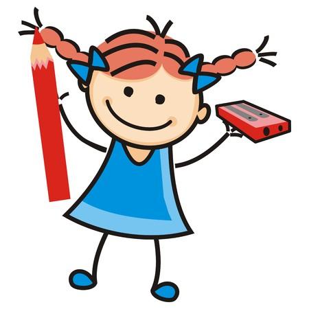 Girl and sharpener illustration. Vektorové ilustrace