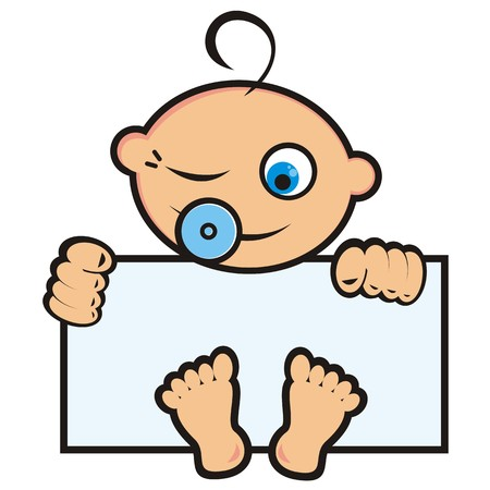 Baby boy, funny vector icon, banner Illustration