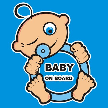 Baby boy on board, vector icon, banner