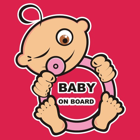 Baby girl on board, vector icon, banner Illustration