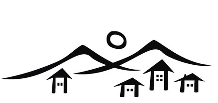 Mountain village black silhouette icon. 일러스트