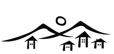 Mountain village black silhouette icon. 일러스트