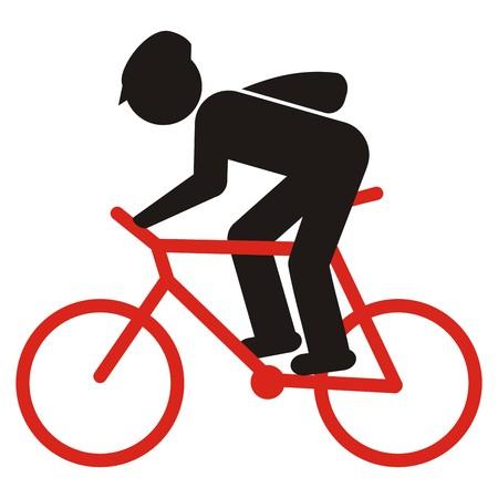 サイクリスト ヘルメット、バッグ、黒と赤のシルエット、ベクトルのアイコン
