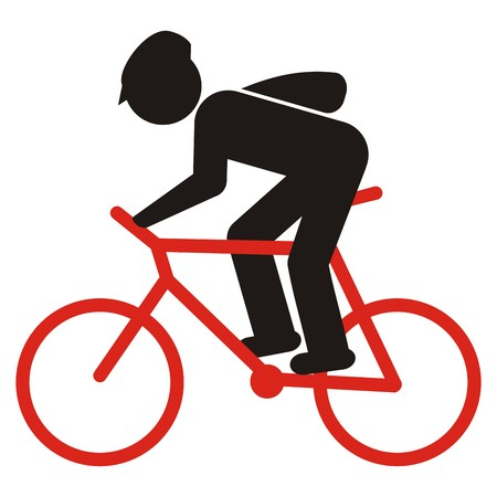 Cyclist with helmet and bag, black and red silhouette, vector icon