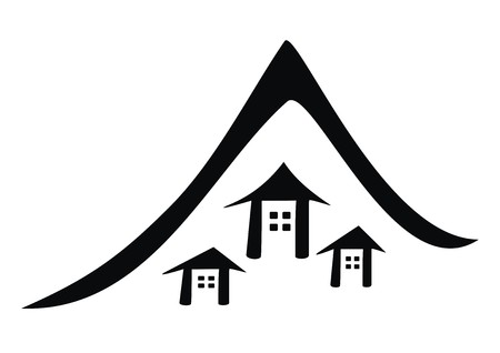 hamlet: Settlement in the mountains, vector web icon, black silhouette