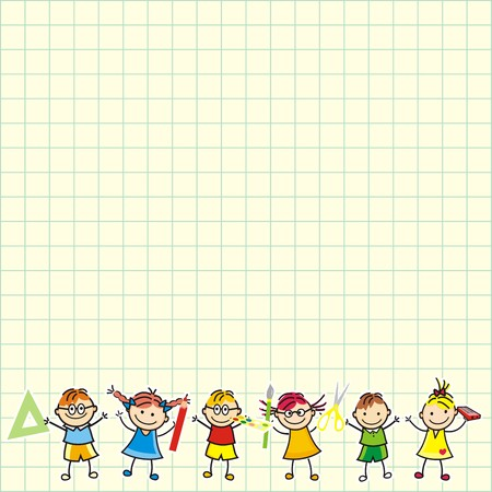 Children on square paper, banner, vector icon Vektorové ilustrace