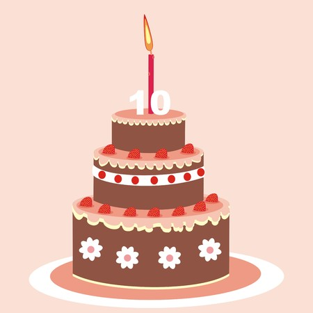 goody: Birthday cake with candle. Chocolate cake with fruit. Vector icon. Illustration