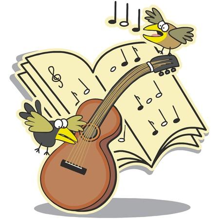 Guitar, notation and birds Ilustração