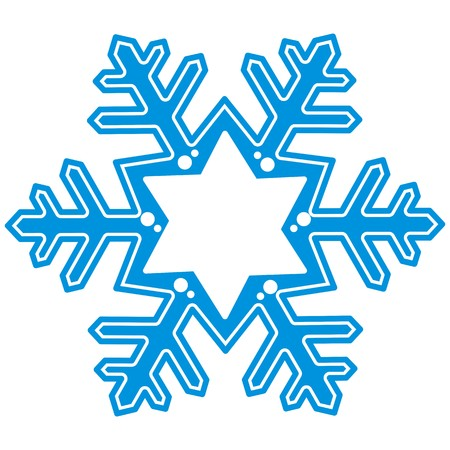 Blue snowflake, vector icon, banner. Place for text. Christmas ornament.