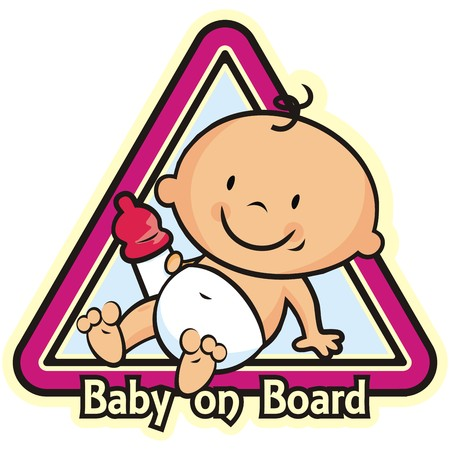 Baby girl on board, car sticker isolated on white background. vector illustration. Illustration