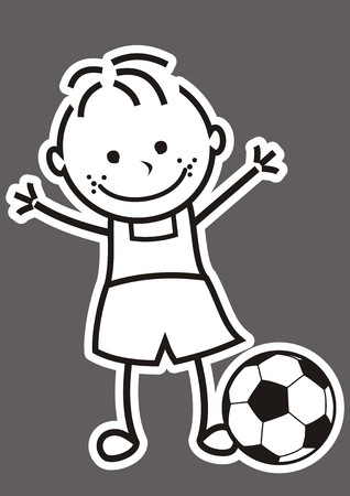 race winner: Boy and soccer ball, vector illustration with outine, white icon