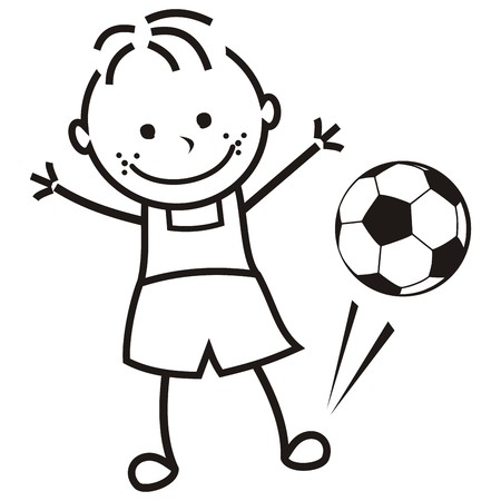 Boy and soccer ball, vector illustration, coloring page Stock Illustratie