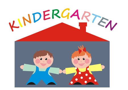 Kindergarten, happy kids, boy and girl at house, vector icon Illustration