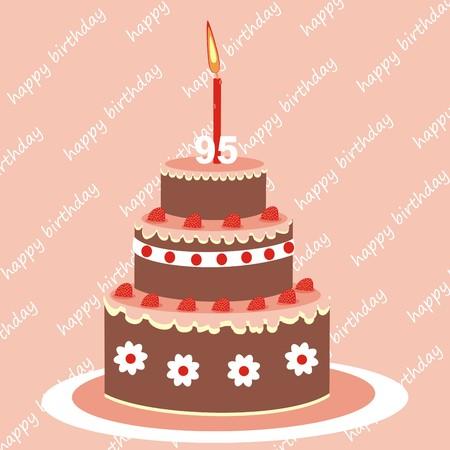 goody: birthday cake, 95 years, vector icon