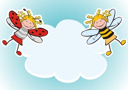 Banner, mariquita y abeja, dos figuras, carnaval. Foto de archivo - 85438659