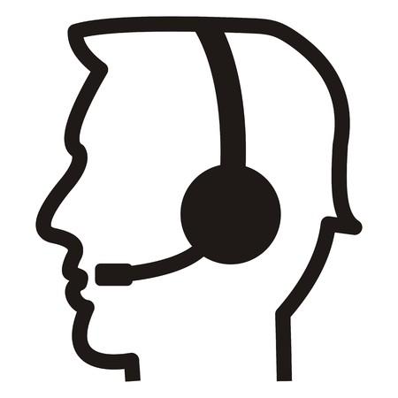 Call center, person, black silhouette, vector icon Ilustracja