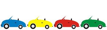 Group of cars, colors, vector icon