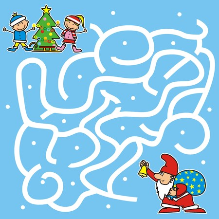 Christmas game for kids. Labyrinth, Santa Claus find way to the christmas tree. Illustration