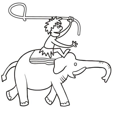 Elephant and hunter, vector icon, coloring page Ilustração