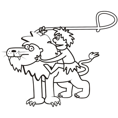 Lion and a tamer.