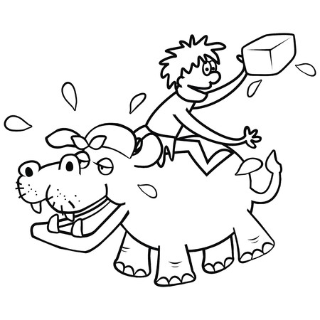 Hippo and veterinary, funny illustration, coloring page Banco de Imagens - 86901979