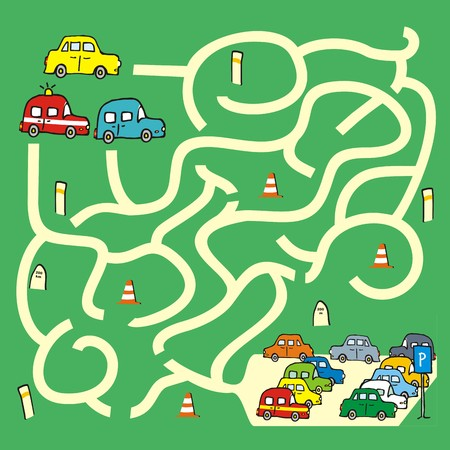 Labyrinth with cars, vector, game for children