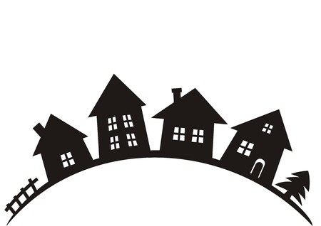 village, black vector silhouette, group of houses
