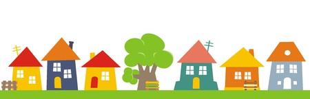 타운, 주택 그룹. 벡터 아이콘입니다. banch 및 트리 하우스 색깔 된 실루엣.
