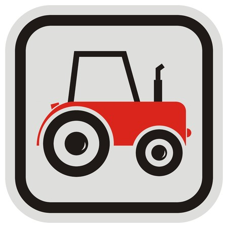 Red tractor, vector icon, frame Illustration