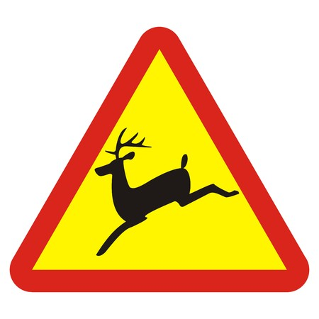 Traffic sign, deer, vector icon