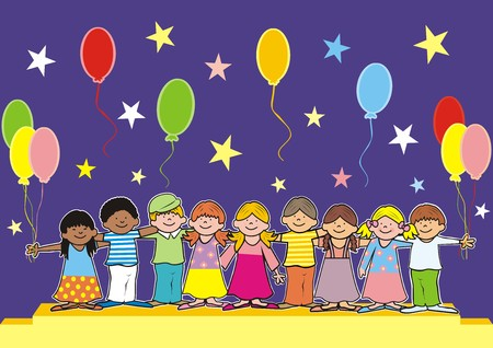 Children on stage. Girls and boys and podium. On Background balloons and stars. Vector icon.