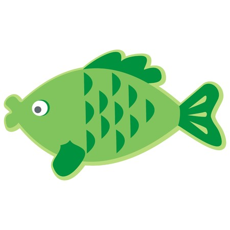 Green fish with scales and fins.