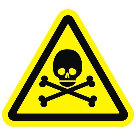 Skull at yellow triangle, warning sign, vector icon