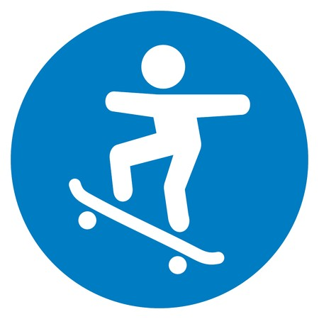 trail for skateboarders, traffic sign, vector icon Illustration
