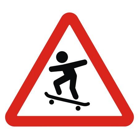 alerta sobre skaters, señal de tráfico, icono de vector