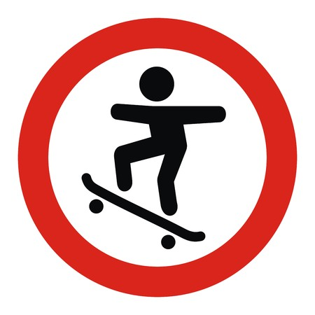 banner on skateboarders, road sign, vector icon