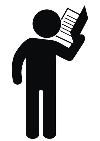 Black figure and book, vector icon illustration.