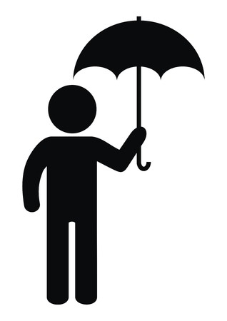 Figure and umbrella, vector icon, black silhouette Ilustrace