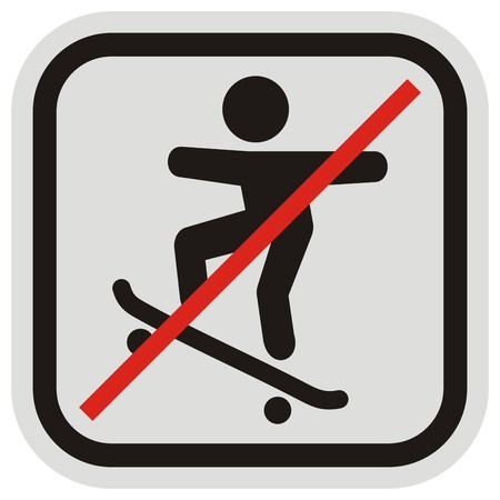 skateboard park: No skateboarders road sign vector icon in gray and black frame