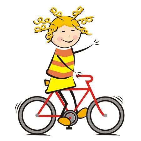 Girl and bicycle, funny illustration, vector icon