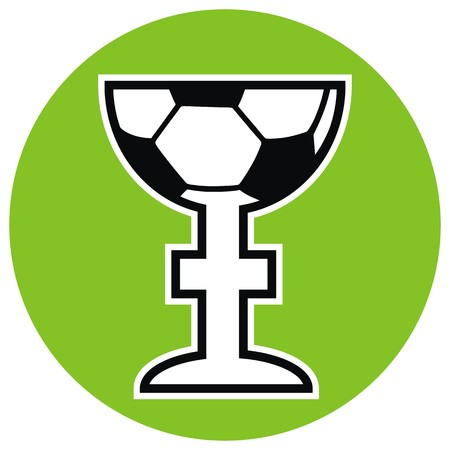 soccer cup at green frame, vector icon