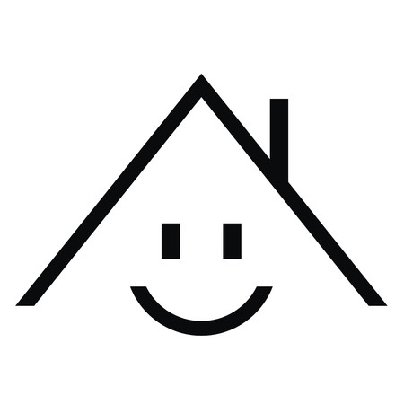 smiling house, vector icon, simple funny illustration