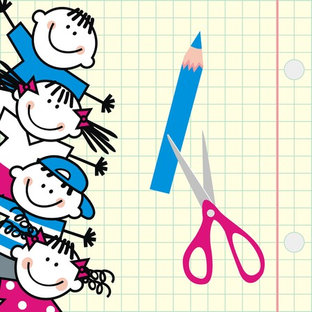 Happy kids and square paper with scissor and crayon at the background. Funny illustration. Vector icon. Group of girls and boys.