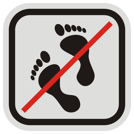 No entry, foot mark in gray and black frame icon