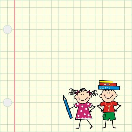 Picture of children on square paper. School kids. Vector icon. Vektorové ilustrace
