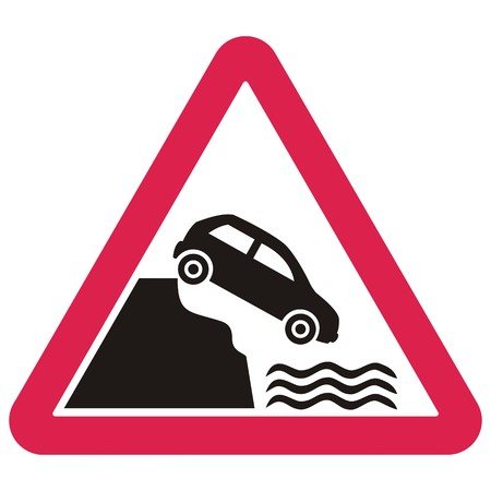 Warning traffic signs. Unprotected quayside or riverbank.Vector icon. 向量圖像